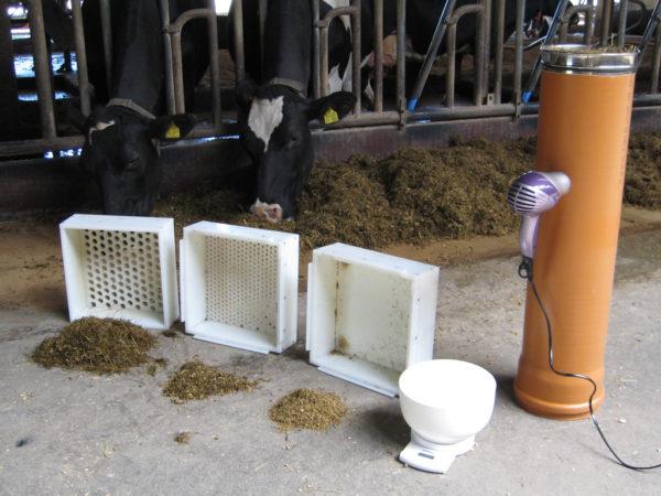 Werkzeuge für ein effektives Rationscontrolling: Futterschüttelbox und eine Vorrichtung zur Trockenmassebestimmung der Trogration