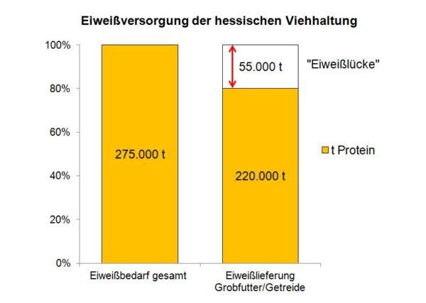Gesamteiweißbedarf und Eiweißversorgung in der hessischen Viehhaltung (Stand 2013)