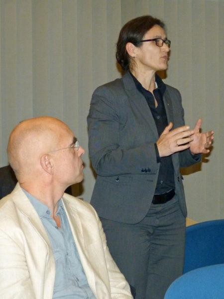 Prof. Dr. Martina Klärle, Geschäftsführerin der HLG und Referent Heinz-Ulrich Eisner, Almende Land, Kassel (links)