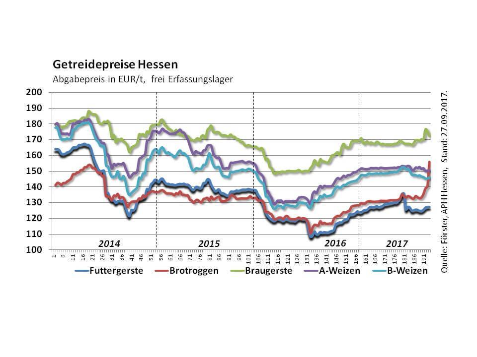 Grafik Getreidepreise Roggen Hessen
