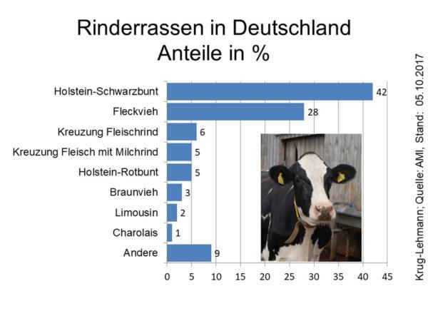 Rinderrassen in Deutschland, Anteile in %; Quelle: AMI, Stand: 05.10.2017