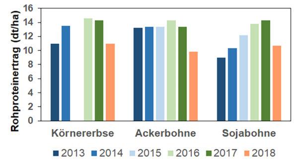 Abbildung 2. Rohproteinertrag (dt/ha, Basisfeuchte Korn 86% TS) von Körnerleguminosen. Landessortenversuche Hessen 2013 bis 2018.