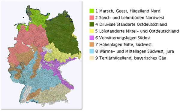 Abbildung 4. Anbaugebiete des konventionellen Landbaues für Körnererbsen (Quelle: GeoPortal.JKI)