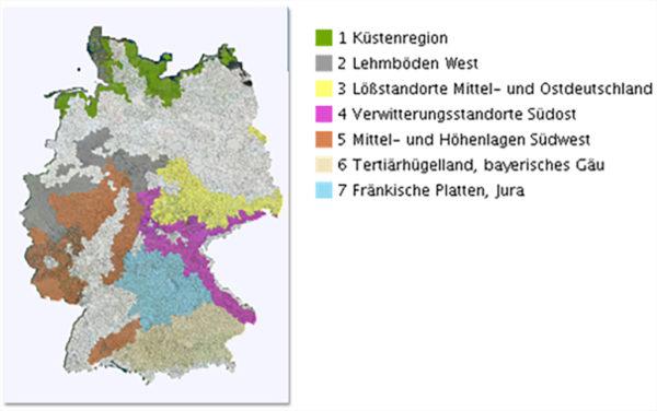 Abbildung 5. Anbaugebiete des konventionellen Landbaues für Ackerbohnen (Quelle: GeoPortal.JKI)